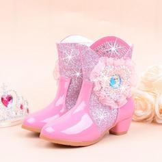 Flicka Stängt Toe Microfiber läder låg klack Stövlar Flower Girl Shoes med Kristall