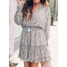 Print Long Sleeves/Lantern Sleeve A-line Above Knee Casual/Elegant Dresses
