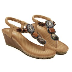 Women's Leatherette Wedge Heel Sandals With Beading shoes