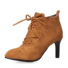 Femmes Suède Talon stiletto Escarpins Bottes Bottines avec Dentelle chaussures