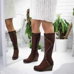 Women's Suede Wedge Heel Knee High Boots With Rivet shoes