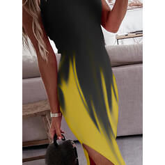 Print/Gradient Sleeveless Sheath Knee Length Casual Slip Dresses