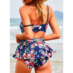 Floral Impresión Empujar Correa Cuello en V Sexy Talla extra Tankinis Trajes de baño
