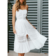 Lace/Solid Sleeveless A-line Slip Sexy/Party/Vacation Midi Dresses
