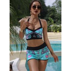 Drucken Neckholder Sexy Übergröße Boho Bikinis Bademode
