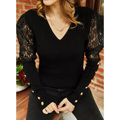 Solid Lace V-Neck Puff Sleeves Long Sleeves Button Up Elegant Blouses
