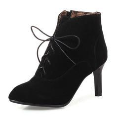 Mulheres Camurça Salto agulha Bombas Botas Bota no tornozelo com Zíper Aplicação de renda sapatos