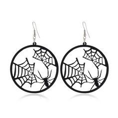 Halloween Dynia Pająk Spider Net Czarownica Stop Kolczyki 2 szt