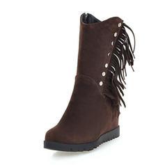 Femmes Suède Talon compensé Compensée Bottes Bottes mi-mollets avec Tassel chaussures