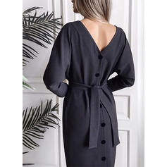 Solid 3/4 Sleeves Sheath Little Black/Casual Midi Dresses