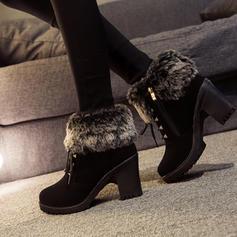 Frauen Veloursleder Stämmiger Absatz Stiefelette mit Niete Schnalle Reißverschluss Zuschnüren Schuhe