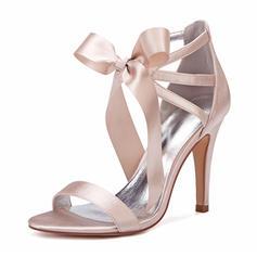 Frauen Seide wie Satin Stöckel Absatz Peep-Toe Absatzschuhe Sandalen mit Bowknot Satin Schnürsenkel Zuschnüren