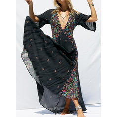 Print 3/4 Sleeves Shift Maxi Casual/Boho/Vacation Dresses