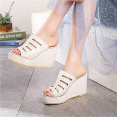 Women's PU Wedge Heel Sandals Wedges With Hollow-out shoes