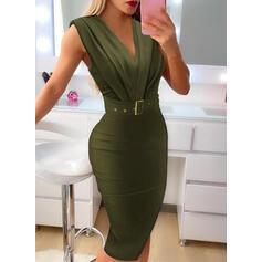 Sólido Sin mangas Ajustado Hasta la Rodilla Elegante Vestidos