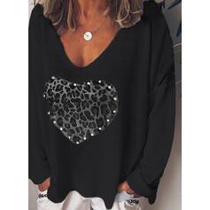 Leopard Heart Print V-Neck Long Sleeves T-shirts