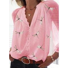Dyreprint V-hals Lange ærmer Button-up Casual Elegant Skjorter