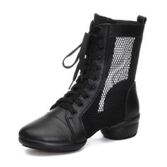 Women's Modern Sneakers Ballroom Sneakers Real Leather Mesh Ballroom