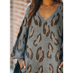 Leopard Long Sleeves Shift Above Knee Casual Sweater Dresses