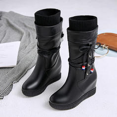 Women's Suede Leatherette Wedge Heel Pumps Boots Mid-Calf Boots Snow Boots With Lace-up shoes
