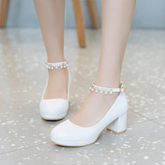 Women's Leatherette Chunky Heel Pumps Platform Closed Toe With Imitation Pearl shoes