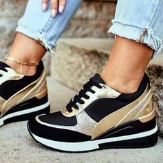De mujer PU Otros Planos Zapatillas con Cordones Color de empalme zapatos
