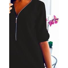 Solide Lange Mouwen Shift Boven de knie Zwart jurkje/Casual/Elegant Jurken