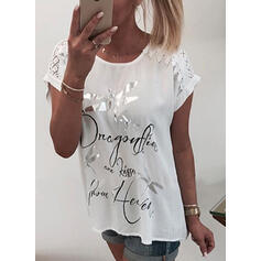 Animal Print Lace Figure Round Neck Short Sleeves Casual Blouses