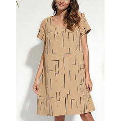 Print Short Sleeves Shift Knee Length Casual/Vacation T-shirt Dresses