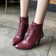 Жіночі Шкіра Шпилька Бокові черевики з Блискавка Зашнурувати взуття