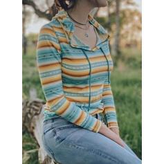 W paski Bluza z kapturem Długie rękawy Bluza z kapturem