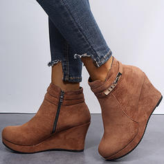 Women's Suede Wedge Heel Ankle Boots With Zipper shoes