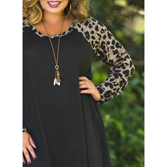 Große Größen Leopard Lange Ärmel Etuikleider Über dem Knie Lässige Kleidung Kleid
