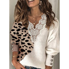 Color Block Lace Leopard V-Neck Casual Sweaters