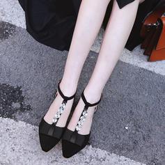 Donna Camoscio Tacco spesso Sandalo Stiletto con Strass Bowknot scarpe