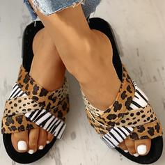 Women's Fabric Flat Heel Sandals Peep Toe Slippers With Animal Print shoes