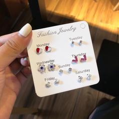 Heart Shaped Flower Shaped Alloy Rhinestones With Rhinestone Earrings (Set of 6)