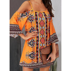 Print 3/4 Sleeves/Cold Shoulder Sleeve Shift Above Knee Casual/Boho/Vacation Dresses