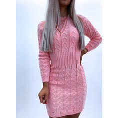 Solid Cable-knit Crew Neck Casual Long Tight Sweater Dress