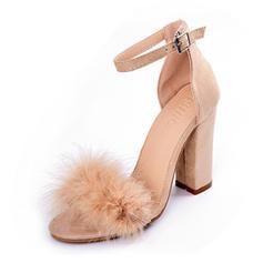 Femmes Suède Talon stiletto Sandales Escarpins avec Feather chaussures