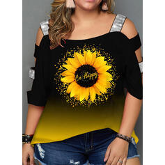 Print Sunflower Print Cold Shoulder 3/4 Sleeves Casual Plus Size Blouses