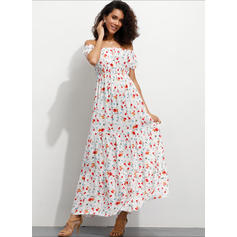 Print/Floral Short Sleeves A-line Vacation Maxi Dresses