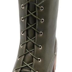 De mujer Cuero Tacón ancho Salón Botas Botas a la rodilla Martin botas con Hebilla Cordones zapatos