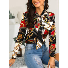 Print Stand collar Long Sleeves Button Up Casual Blouses