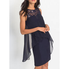 Lace/Solid Sleeveless Sheath Above Knee Party Dresses