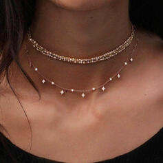 Star Shaped Alloy Rhinestones Necklaces