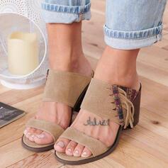 Femmes PU Talon bottier Sandales À bout ouvert Chaussons avec Tassel chaussures