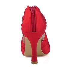 Frauen Satin Spule Absatz Stiefel Peep-Toe Absatzschuhe mit Geraffte Reißverschluss