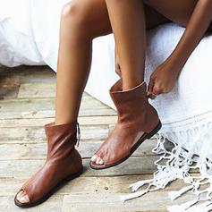 De mujer PVC PU Tacón plano Sandalias Planos Encaje con Cremallera zapatos