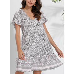 Print/Floral Short Sleeves Shift Above Knee Casual/Boho/Vacation Tunic Dresses